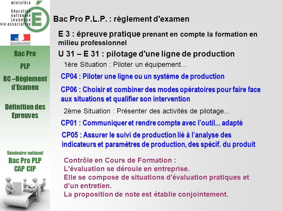 Bac Pro P.L.P. : règlement d'examen U 31 – E 31 : pilotage d'une ligne de production CP05 : Assurer le suivi de production lié à lanalyse des indicate