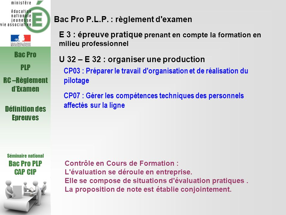 Bac Pro P.L.P. : règlement d'examen U 32 – E 32 : organiser une production CP03 : Préparer le travail d'organisation et de réalisation du pilotage E 3