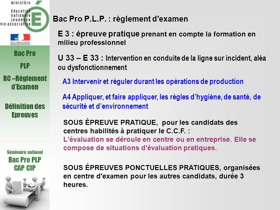 Bac Pro P.L.P. : règlement d'examen U 33 – E 33 : Intervention en conduite de la ligne sur incident, aléa ou dysfonctionnement A3 Intervenir et régule
