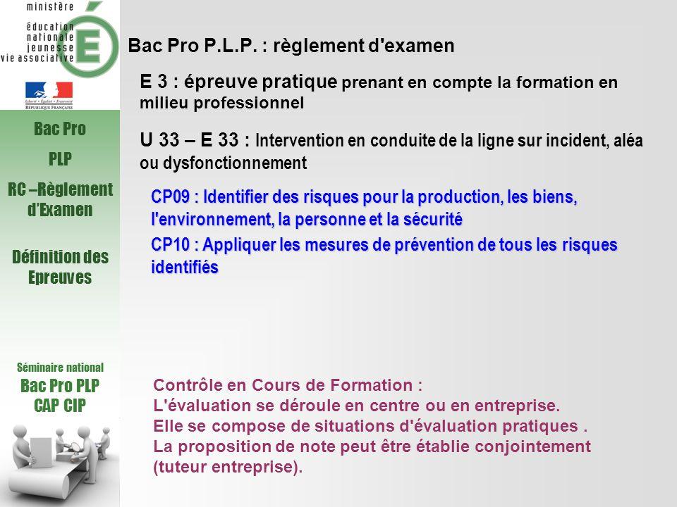 Bac Pro P.L.P. : règlement d'examen U 33 – E 33 : Intervention en conduite de la ligne sur incident, aléa ou dysfonctionnement CP09 : Identifier des r