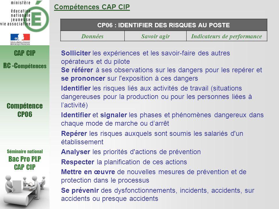 Compétences CAP CIP CP06 : IDENTIFIER DES RISQUES AU POSTE DonnéesSavoir agirIndicateurs de performance Solliciter les expériences et les savoir-faire