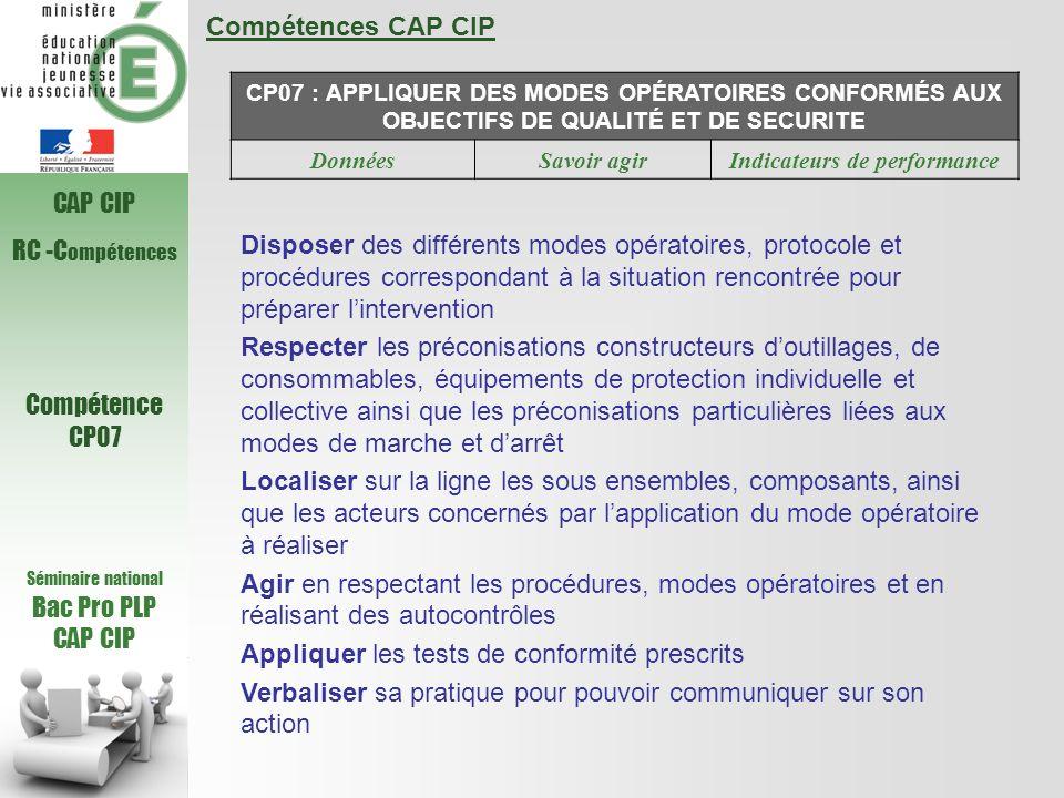 Compétences CAP CIP CP07 : APPLIQUER DES MODES OPÉRATOIRES CONFORMÉS AUX OBJECTIFS DE QUALITÉ ET DE SECURITE DonnéesSavoir agirIndicateurs de performa