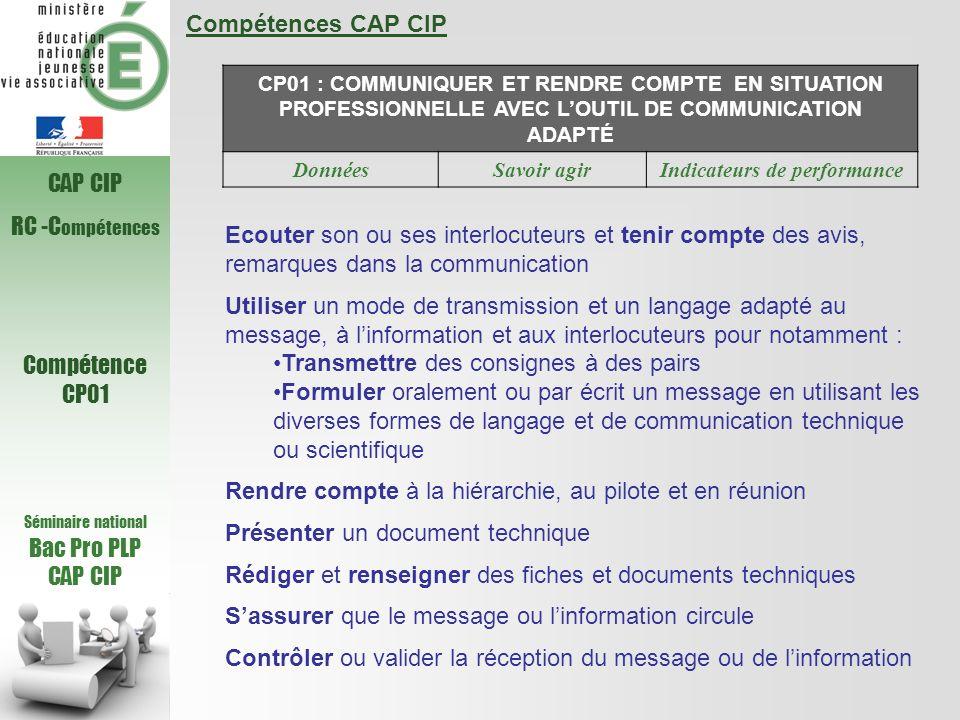 Compétences CAP CIP CP01 : COMMUNIQUER ET RENDRE COMPTE EN SITUATION PROFESSIONNELLE AVEC LOUTIL DE COMMUNICATION ADAPTÉ DonnéesSavoir agirIndicateurs