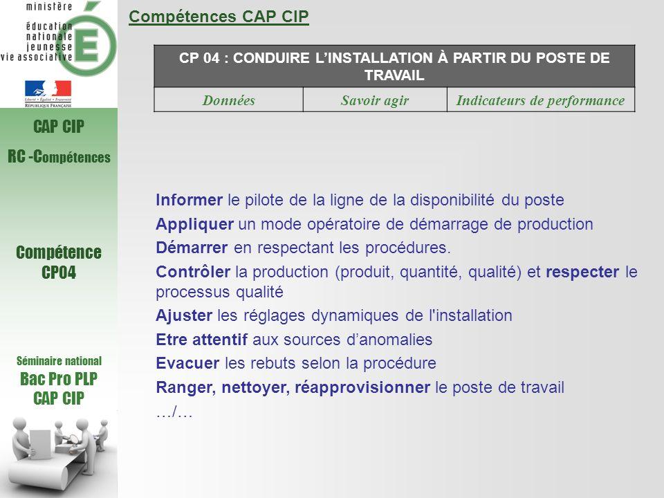 Compétences CAP CIP CP 04 : CONDUIRE LINSTALLATION À PARTIR DU POSTE DE TRAVAIL DonnéesSavoir agirIndicateurs de performance Informer le pilote de la