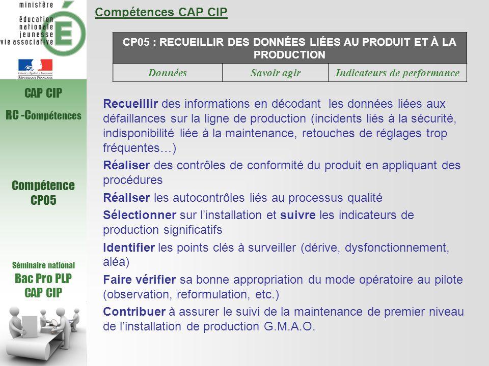 Compétences CAP CIP CP05 : RECUEILLIR DES DONNÉES LIÉES AU PRODUIT ET À LA PRODUCTION DonnéesSavoir agirIndicateurs de performance Recueillir des info