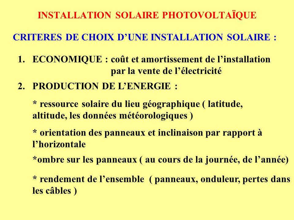INSTALLATION SOLAIRE PHOTOVOLTAÏQUE CRITERES DE CHOIX DUNE INSTALLATION SOLAIRE : 1.ECONOMIQUE : coût et amortissement de linstallation par la vente d