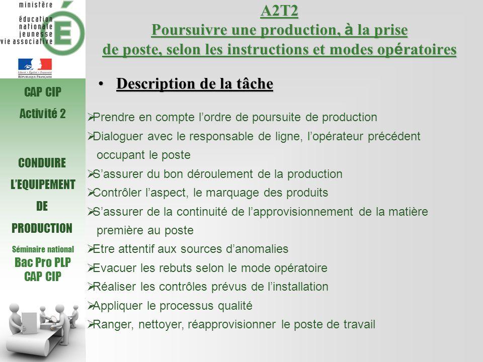 Séminaire national Bac Pro PLP CAP CIP A2T2 Poursuivre une production, à la prise de poste, selon les instructions et modes op é ratoires Prendre en c