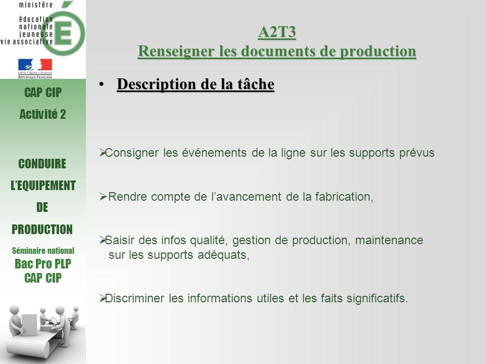 Séminaire national Bac Pro PLP CAP CIP A2T3 Renseigner les documents de production Consigner les événements de la ligne sur les supports prévus Rendre