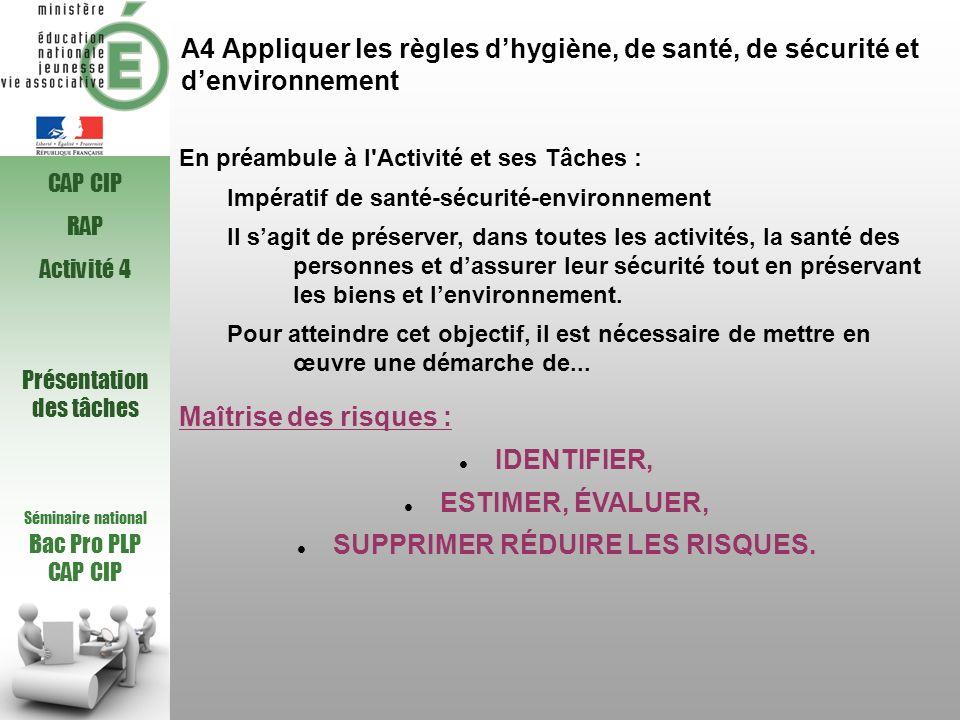 A4 Appliquer les règles dhygiène, de santé, de sécurité et denvironnement Séminaire national Bac Pro PLP CAP CIP En préambule à l'Activité et ses Tâch