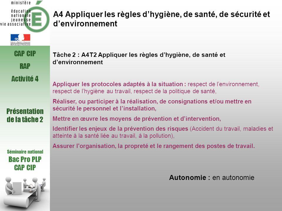 A4 Appliquer les règles dhygiène, de santé, de sécurité et denvironnement Tâche 2 : A4T2 Appliquer les règles dhygiène, de santé et denvironnement App