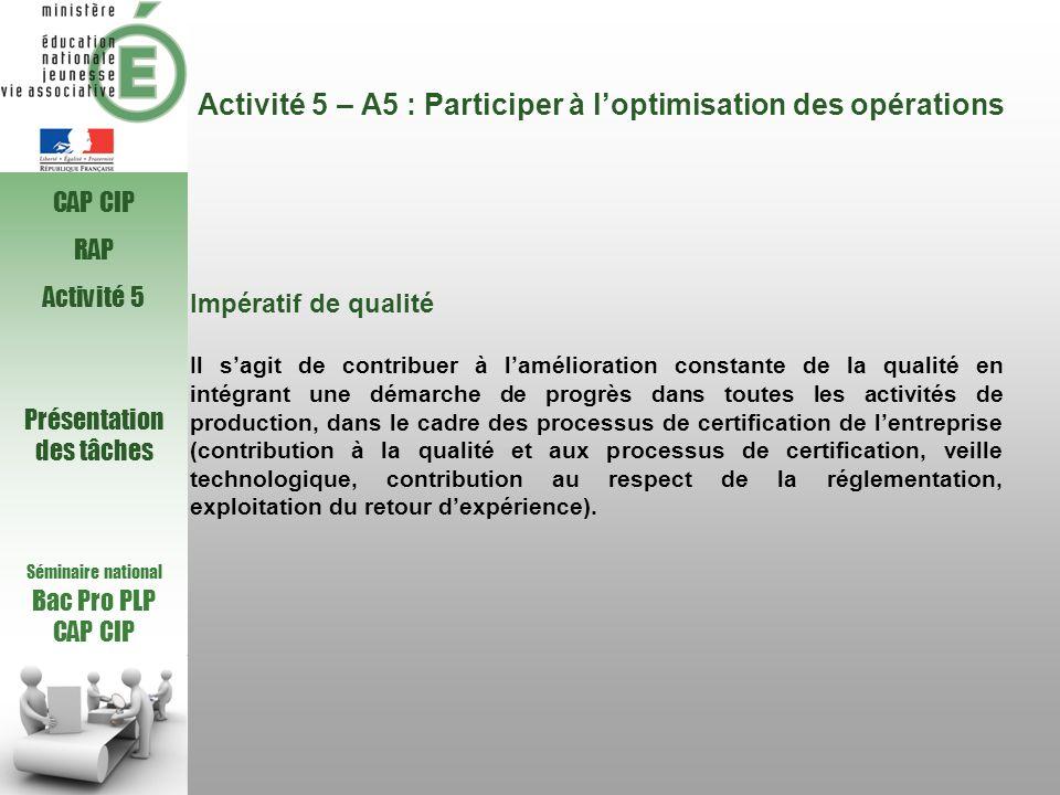 Activité 5 – A5 : Participer à loptimisation des opérations Impératif de qualité Il sagit de contribuer à lamélioration constante de la qualité en int