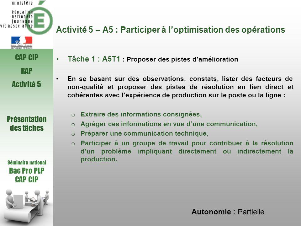 Activité 5 – A5 : Participer à loptimisation des opérations Tâche 1 : A5T1 : Proposer des pistes damélioration En se basant sur des observations, cons