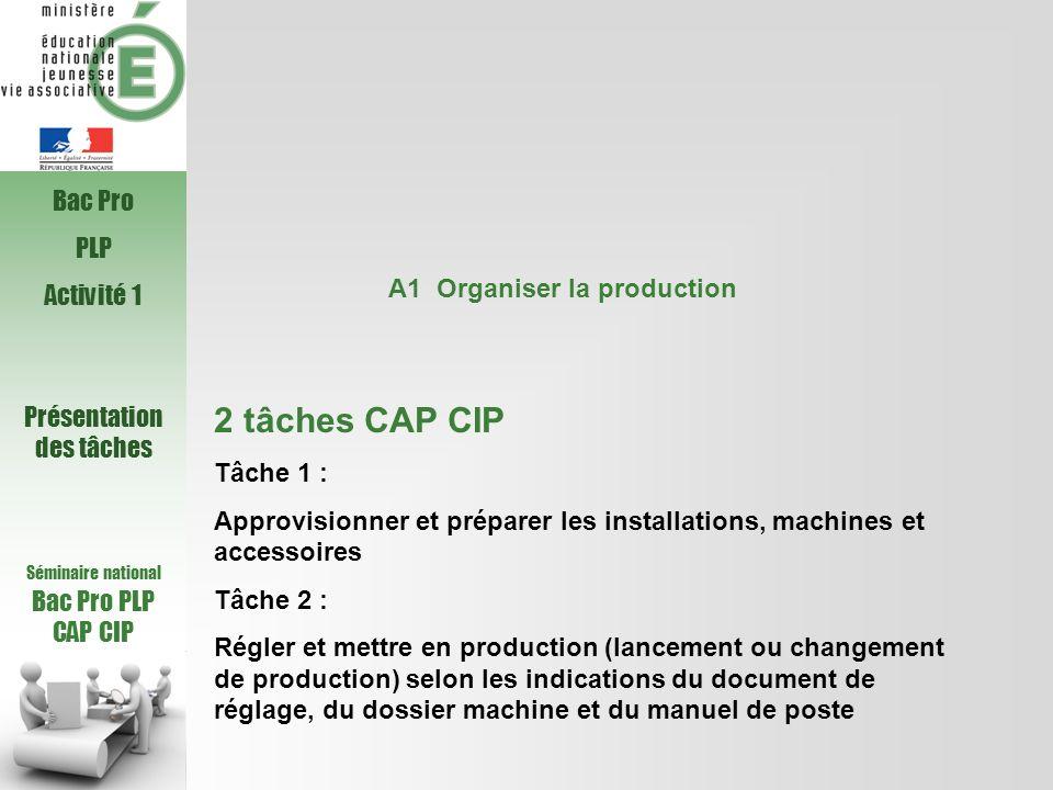 Séminaire national Bac Pro PLP CAP CIP A1 Organiser la production 2 tâches CAP CIP Tâche 1 : Approvisionner et préparer les installations, machines et
