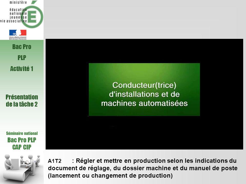 Séminaire national Bac Pro PLP CAP CIP A1T2 : Régler et mettre en production selon les indications du document de réglage, du dossier machine et du ma