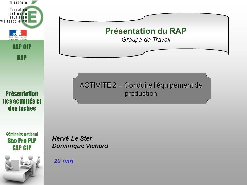 Séminaire national Bac Pro PLP CAP CIP RAP Présentation des activités et des tâches Hervé Le Ster Dominique Vichard 20 min Présentation du RAP Groupe