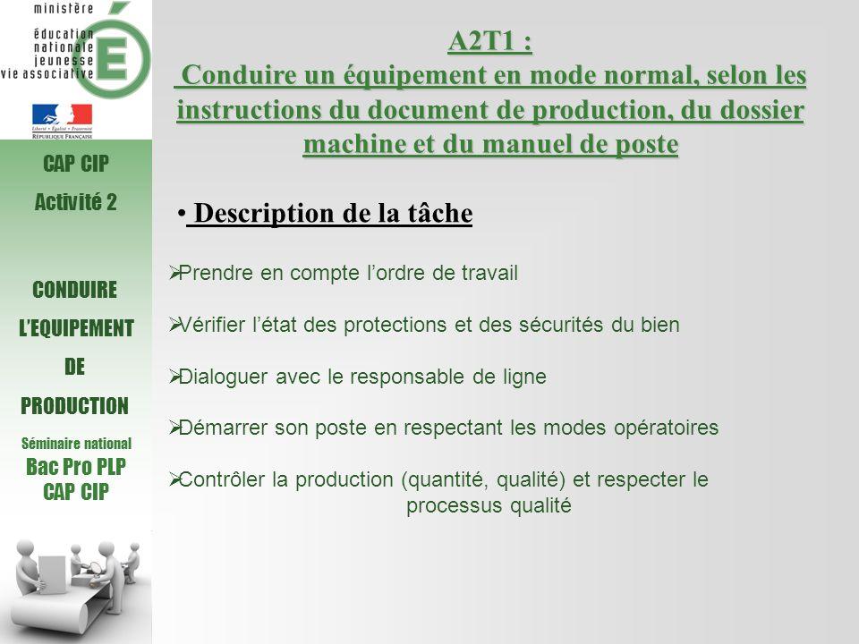 Séminaire national Bac Pro PLP CAP CIP A2T1 : Conduire un équipement en mode normal, selon les instructions du document de production, du dossier mach