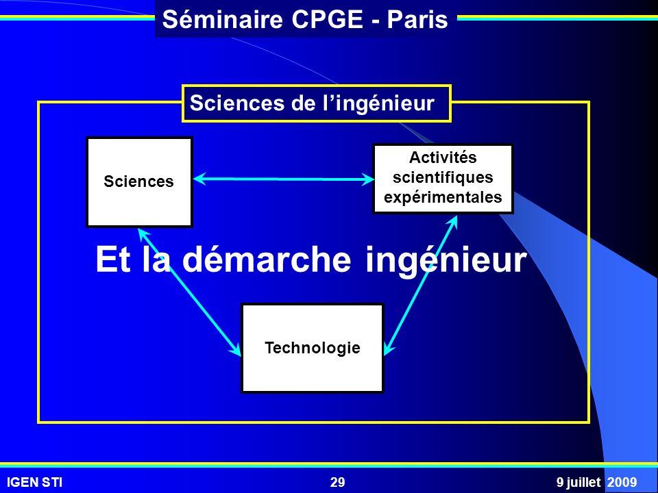 IGEN STI9 juillet 200929 Séminaire CPGE - Paris Sciences Activités scientifiques expérimentales Technologie Sciences de lingénieur Et la démarche ingé