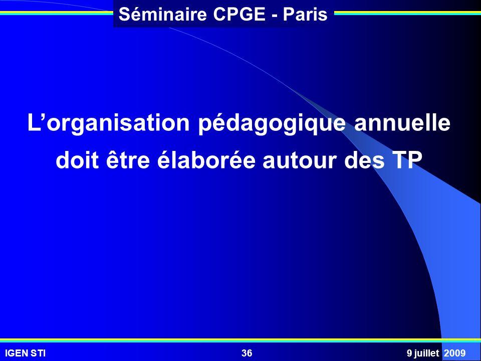 IGEN STI9 juillet 200936 Séminaire CPGE - Paris Lorganisation pédagogique annuelle doit être élaborée autour des TP