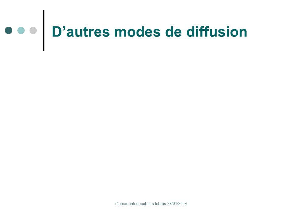 réunion interlocuteurs lettres 27/01/2009 Dautres modes de diffusion