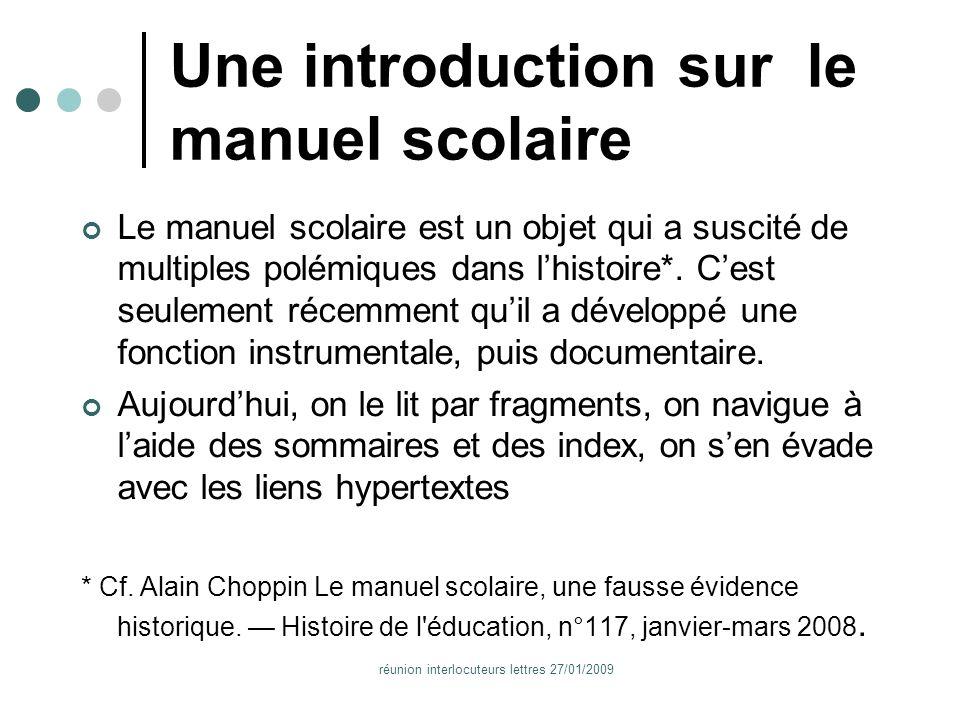 réunion interlocuteurs lettres 27/01/2009 Quels ebooks .