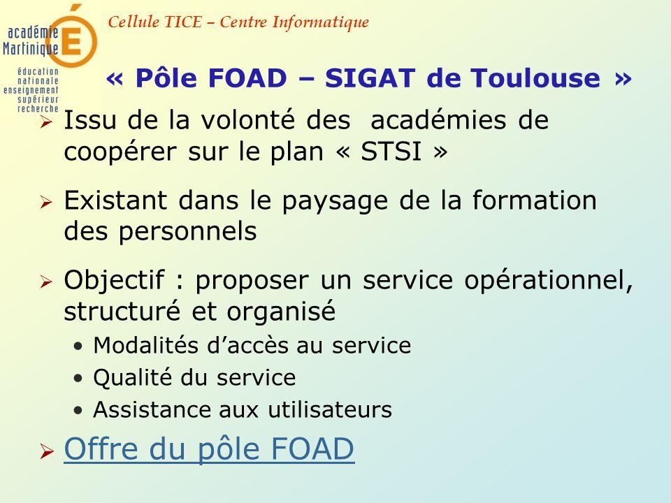 Cellule TICE – Centre Informatique « Pôle FOAD – SIGAT de Toulouse » Issu de la volonté des académies de coopérer sur le plan « STSI » Existant dans l