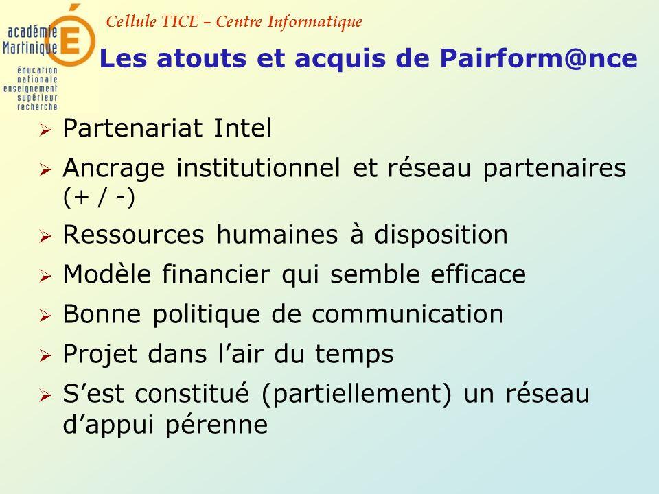 Cellule TICE – Centre Informatique Les atouts et acquis de Pairform@nce Partenariat Intel Ancrage institutionnel et réseau partenaires (+ / -) Ressour