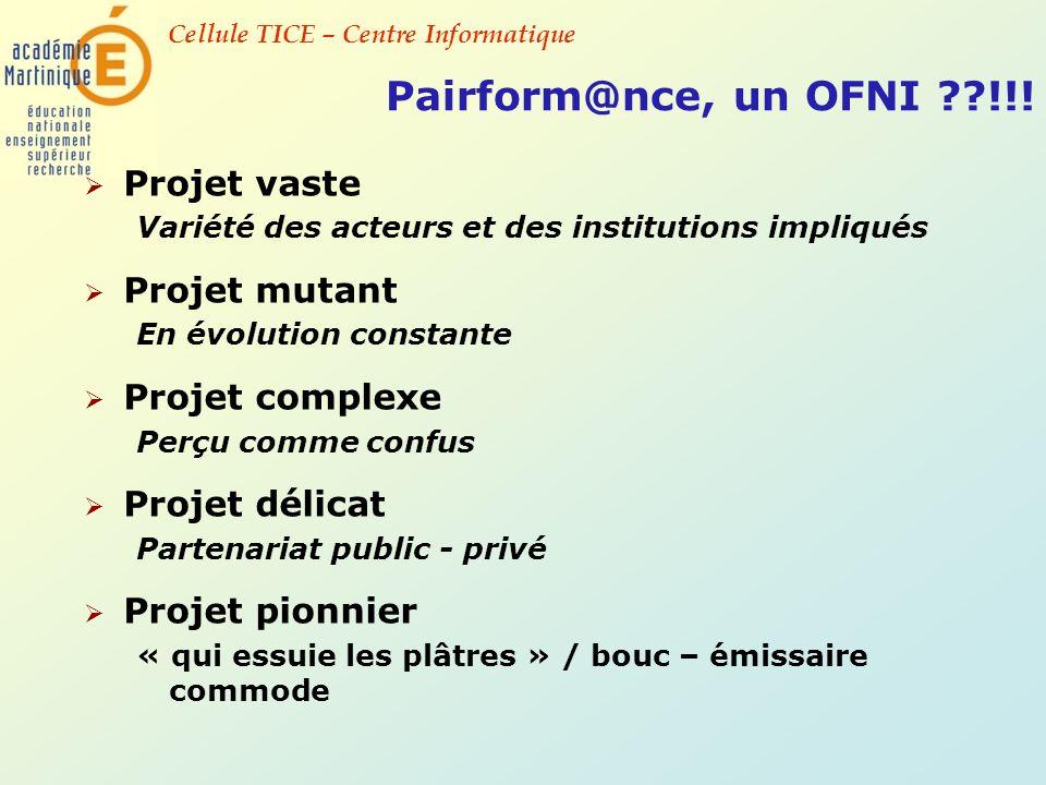 Cellule TICE – Centre Informatique Pairform@nce, un OFNI ??!!! Projet vaste Variété des acteurs et des institutions impliqués Projet mutant En évoluti