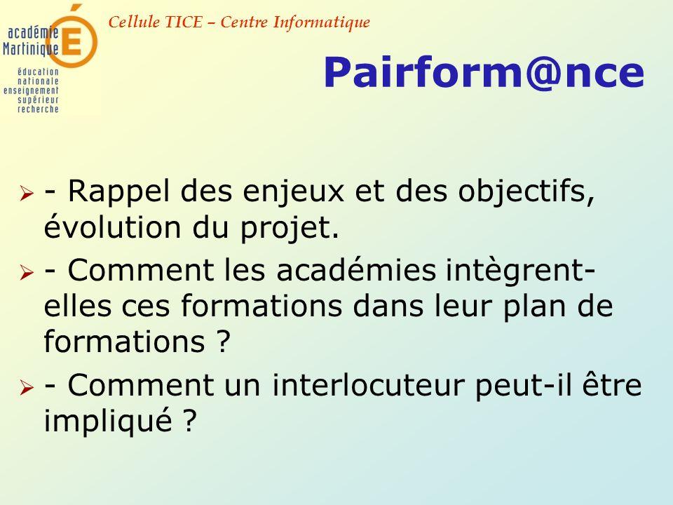 Cellule TICE – Centre Informatique Pairform@nce - Rappel des enjeux et des objectifs, évolution du projet. - Comment les académies intègrent- elles ce