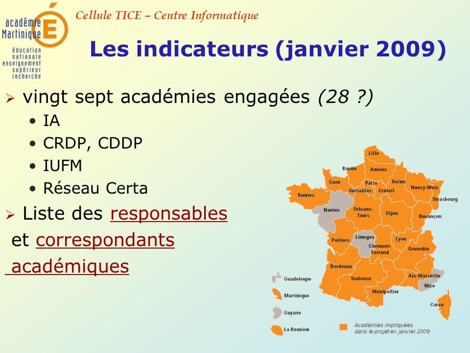 Cellule TICE – Centre Informatique Les indicateurs (janvier 2009) vingt sept académies engagées (28 ?) IA CRDP, CDDP IUFM Réseau Certa Liste des respo