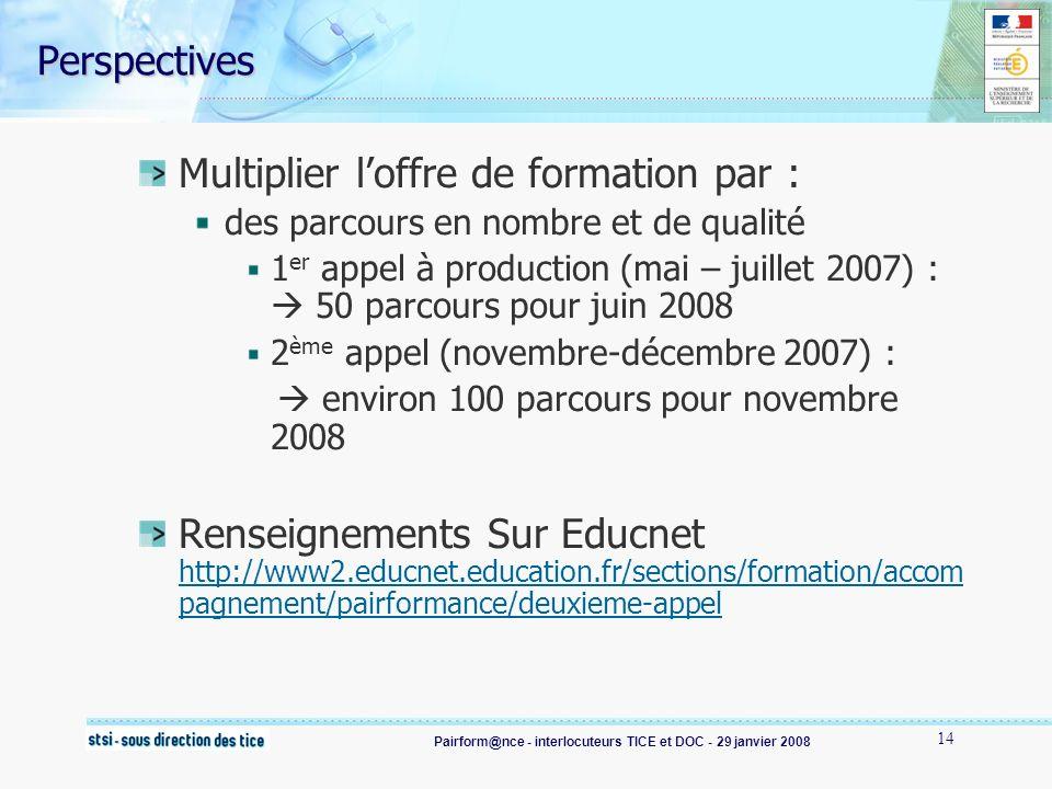 Pairform@nce - interlocuteurs TICE et DOC - 29 janvier 2008 14 Perspectives Multiplier loffre de formation par : des parcours en nombre et de qualité 1 er appel à production (mai – juillet 2007) : 50 parcours pour juin 2008 2 ème appel (novembre-décembre 2007) : environ 100 parcours pour novembre 2008 Renseignements Sur Educnet http://www2.educnet.education.fr/sections/formation/accom pagnement/pairformance/deuxieme-appel http://www2.educnet.education.fr/sections/formation/accom pagnement/pairformance/deuxieme-appel