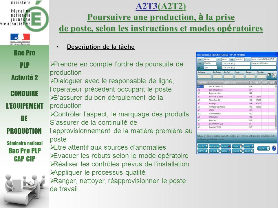 Séminaire national Bac Pro PLP CAP CIP CONDUIRE LEQUIPEMENT DE PRODUCTION A2T3(A2T2) Poursuivre une production, à la prise de poste, selon les instruc