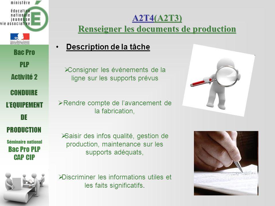 Séminaire national Bac Pro PLP CAP CIP CONDUIRE LEQUIPEMENT DE PRODUCTION A2T4(A2T3) Renseigner les documents de production Consigner les événements d