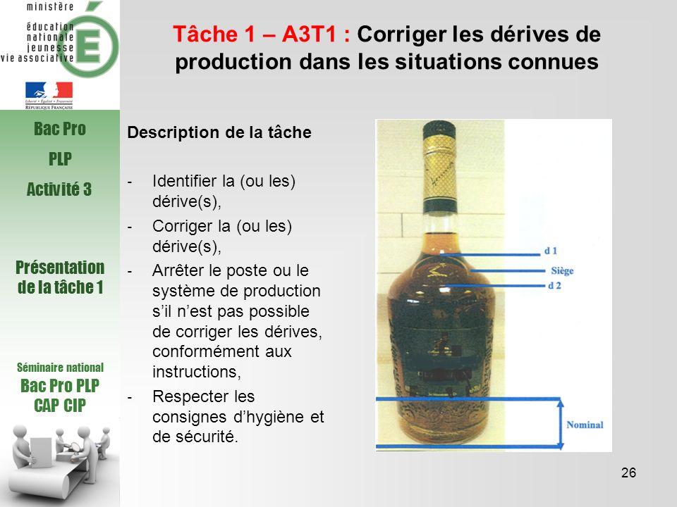 Séminaire national Bac Pro PLP CAP CIP Tâche 1 – A3T1 : Corriger les dérives de production dans les situations connues Description de la tâche Identif
