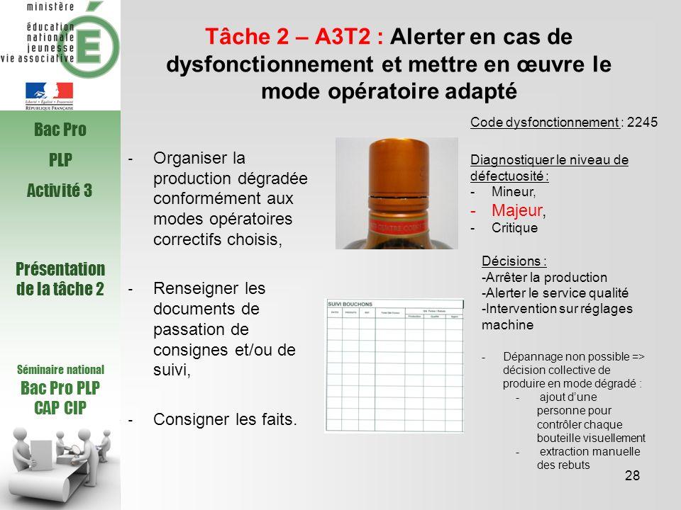 Séminaire national Bac Pro PLP CAP CIP Tâche 2 – A3T2 : Alerter en cas de dysfonctionnement et mettre en œuvre le mode opératoire adapté Organiser la