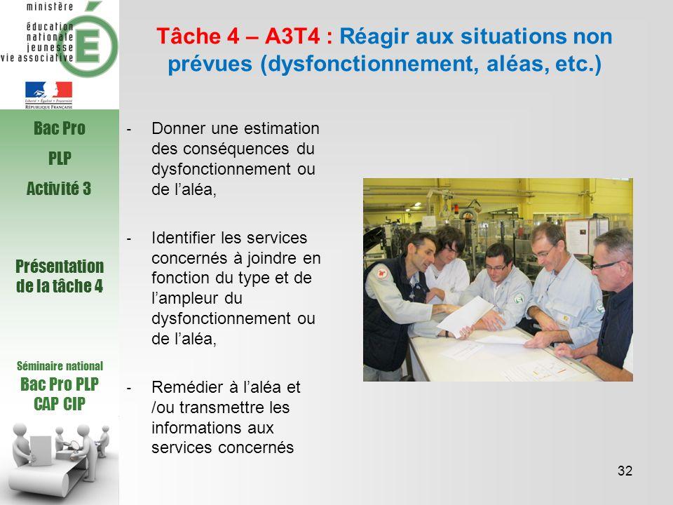 Séminaire national Bac Pro PLP CAP CIP Tâche 4 – A3T4 : Réagir aux situations non prévues (dysfonctionnement, aléas, etc.) Donner une estimation des c