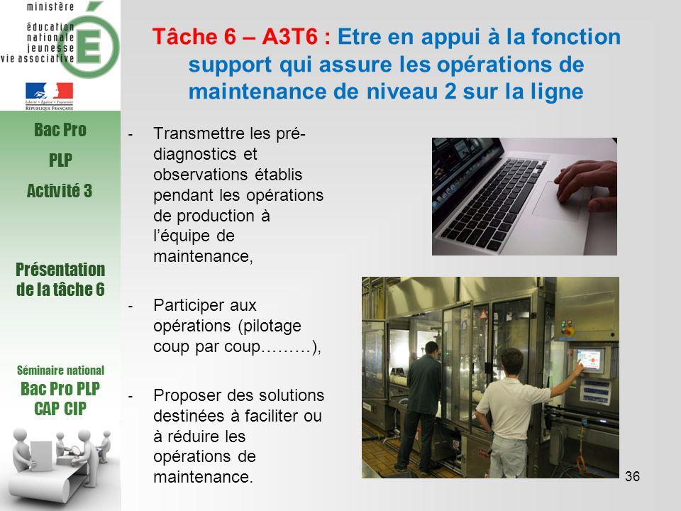 Séminaire national Bac Pro PLP CAP CIP Tâche 6 – A3T6 : Etre en appui à la fonction support qui assure les opérations de maintenance de niveau 2 sur l