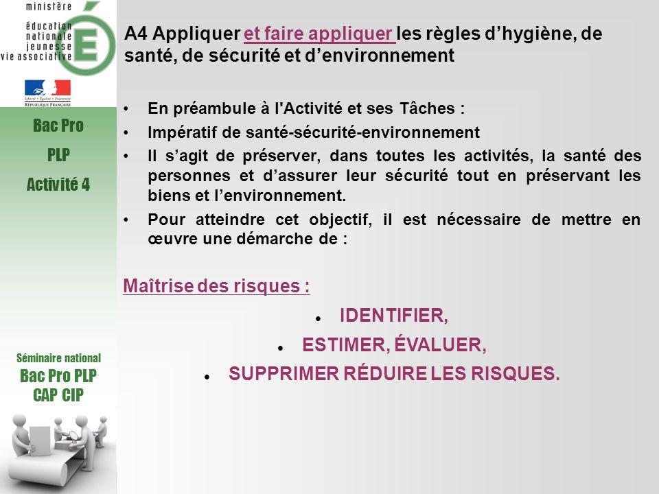 A4 Appliquer et faire appliquer les règles dhygiène, de santé, de sécurité et denvironnement En préambule à l'Activité et ses Tâches : Impératif de sa