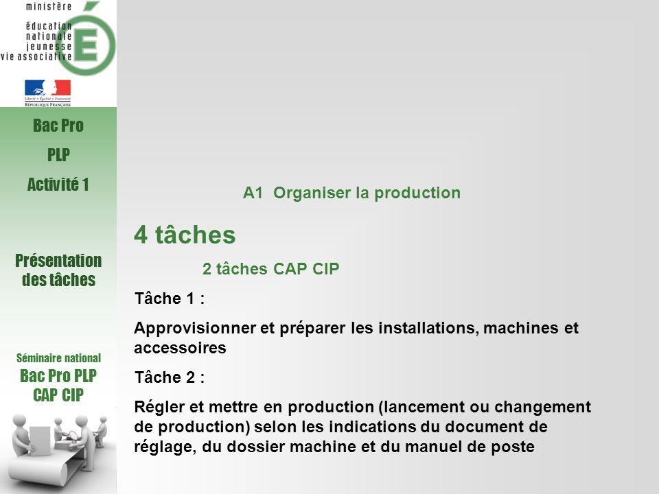 Séminaire national Bac Pro PLP CAP CIP A1 Organiser la production 4 tâches 2 tâches CAP CIP Tâche 1 : Approvisionner et préparer les installations, ma
