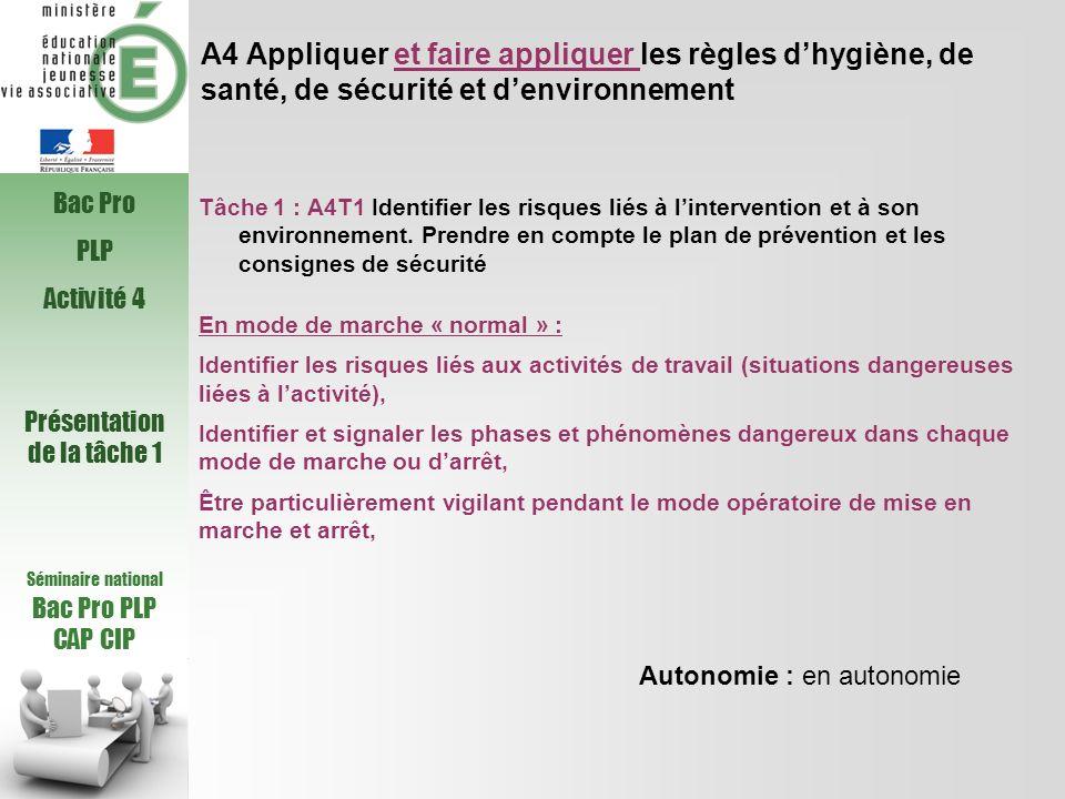 A4 Appliquer et faire appliquer les règles dhygiène, de santé, de sécurité et denvironnement Tâche 1 : A4T1 Identifier les risques liés à linterventio
