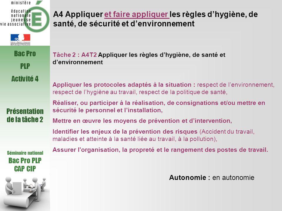A4 Appliquer et faire appliquer les règles dhygiène, de santé, de sécurité et denvironnement Tâche 2 : A4T2 Appliquer les règles dhygiène, de santé et