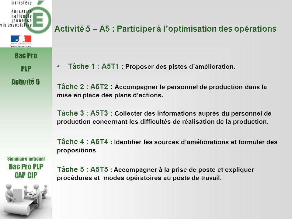 Activité 5 – A5 : Participer à loptimisation des opérations Tâche 1 : A5T1 : Proposer des pistes damélioration. Tâche 2 : A5T2 : Accompagner le person