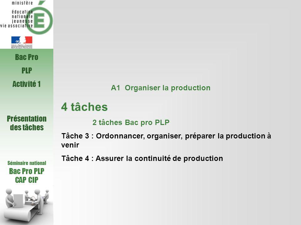Séminaire national Bac Pro PLP CAP CIP A1 Organiser la production 4 tâches 2 tâches Bac pro PLP Tâche 3 : Ordonnancer, organiser, préparer la producti