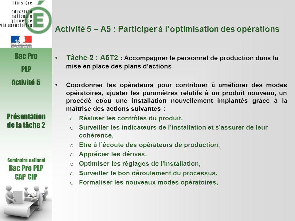 Activité 5 – A5 : Participer à loptimisation des opérations Tâche 2 : A5T2 : Accompagner le personnel de production dans la mise en place des plans da