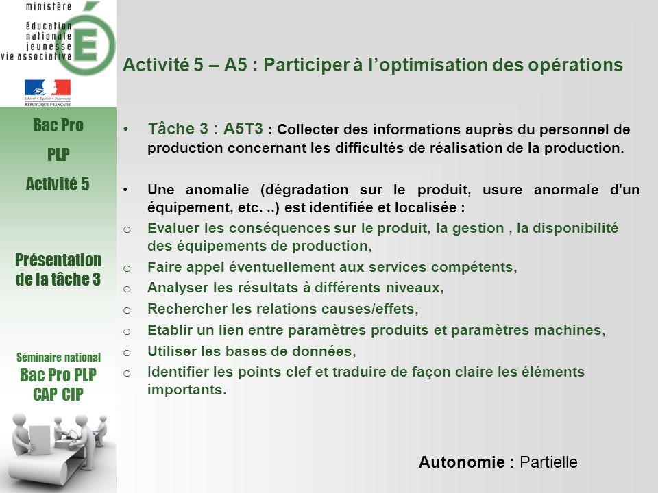 Activité 5 – A5 : Participer à loptimisation des opérations Tâche 3 : A5T3 : Collecter des informations auprès du personnel de production concernant l