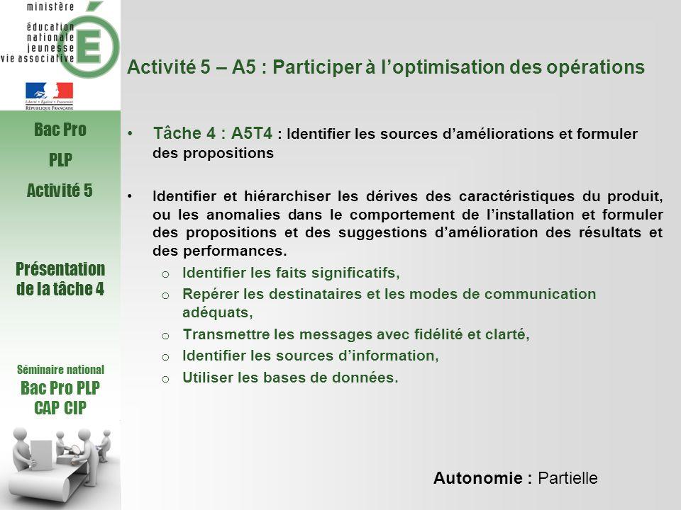 Activité 5 – A5 : Participer à loptimisation des opérations Tâche 4 : A5T4 : Identifier les sources daméliorations et formuler des propositions Identi