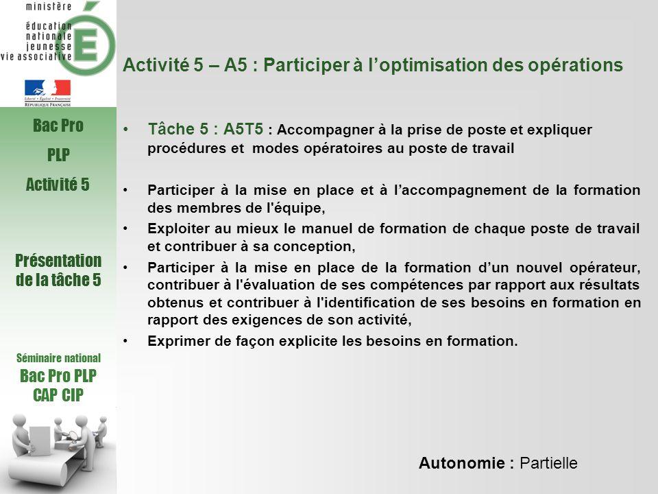 Activité 5 – A5 : Participer à loptimisation des opérations Tâche 5 : A5T5 : Accompagner à la prise de poste et expliquer procédures et modes opératoi