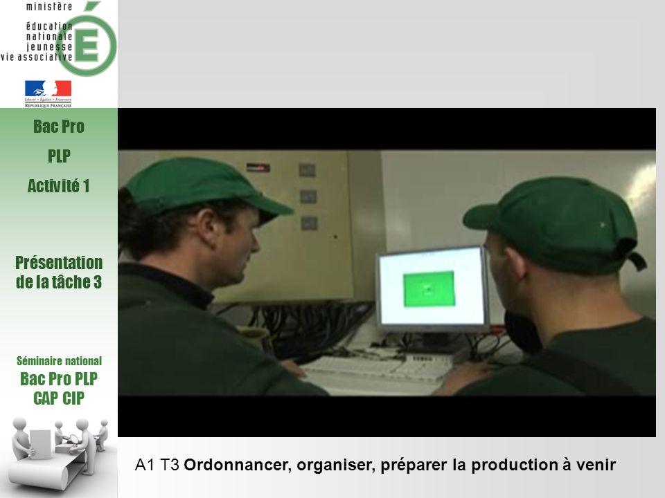 Séminaire national Bac Pro PLP CAP CIP A1 T3 Ordonnancer, organiser, préparer la production à venir Bac Pro PLP Activité 1 Présentation de la tâche 3