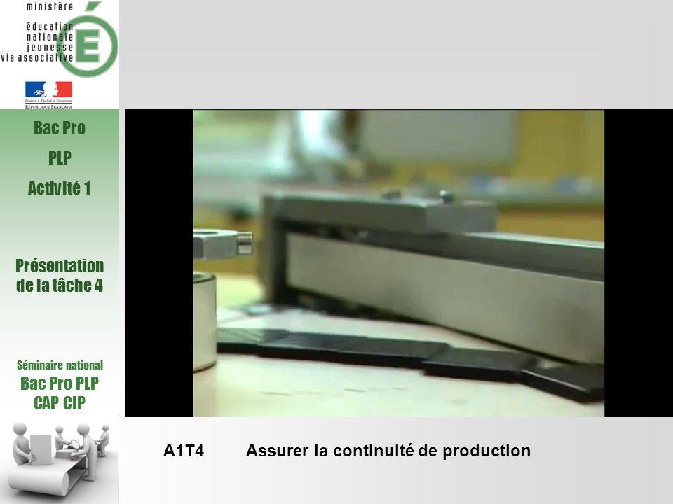 Activité 5 – A5 : Participer à loptimisation des opérations Tâche 2 : A5T2 : Accompagner le personnel de production dans la mise en place des plans dactions Coordonner les opérateurs pour contribuer à améliorer des modes opératoires, ajuster les paramètres relatifs à un produit nouveau, un procédé et/ou une installation nouvellement implantés grâce à la maîtrise des actions suivantes : o Réaliser les contrôles du produit, o Surveiller les indicateurs de l installation et s assurer de leur cohérence, o Etre à lécoute des opérateurs de production, o Apprécier les dérives, o Optimiser les réglages de l installation, o Surveiller le bon déroulement du processus, o Formaliser les nouveaux modes opératoires, Séminaire national Bac Pro PLP CAP CIP Présentation de la tâche 2 Bac Pro PLP Activité 5