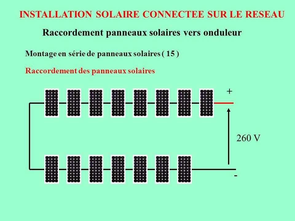 INSTALLATION SOLAIRE CONNECTEE SUR LE RESEAU Raccordement panneaux solaires vers onduleur Montage en série de panneaux solaires ( 15 ) Raccordement de