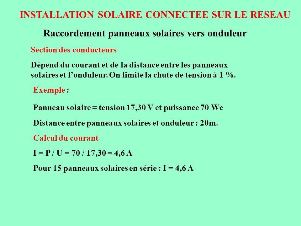 INSTALLATION SOLAIRE CONNECTEE SUR LE RESEAU Section des conducteurs Dépend du courant et de la distance entre les panneaux solaires et londuleur. On